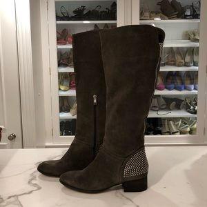 Ivanka Trump suede studded boots, gray, size 7.5
